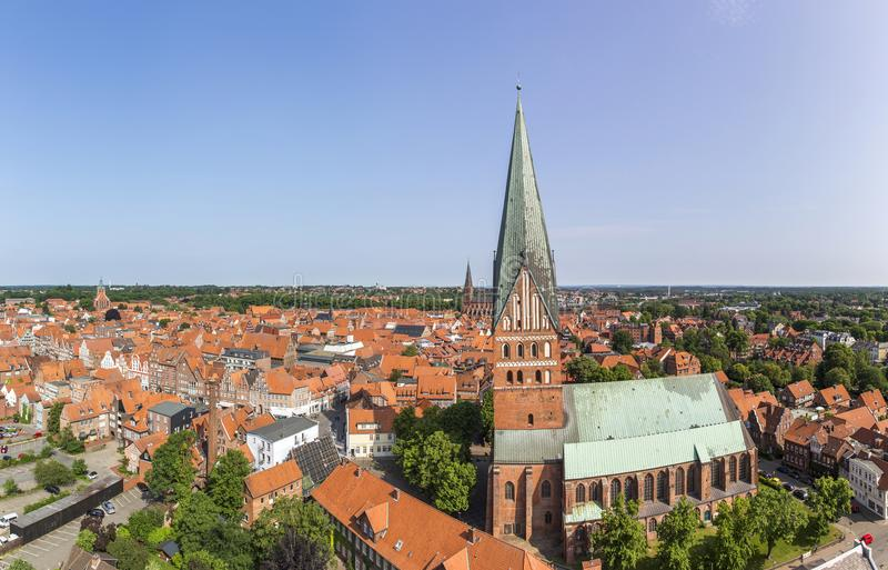 Aerial view of Luneburg, Germany stock photography