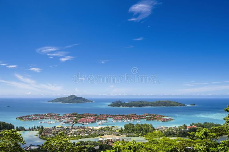 Aerial view of luxury Eden Island estate project from spectacular viewpoint of Lamisere road, Mahe island, Seychelles royalty free stock photo