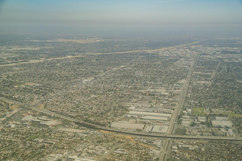 Aerial view of the Lynwood area, Plaza Mexico and Compton. At Los Angeles, California royalty free stock photo