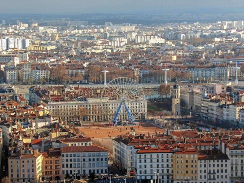 Aerial view of Lyon with Ferris Wheel on the place Bellecour square and historical buildings, France. Europe stock images