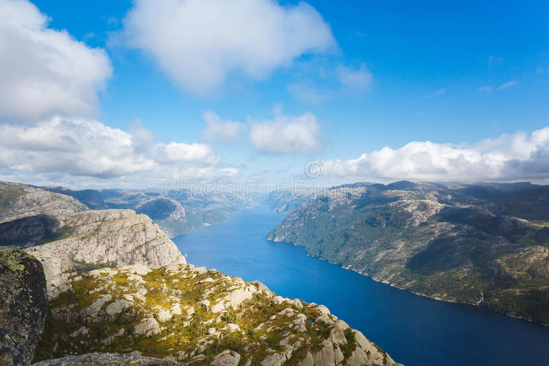 Aerial view of the Lysefjord royalty free stock images