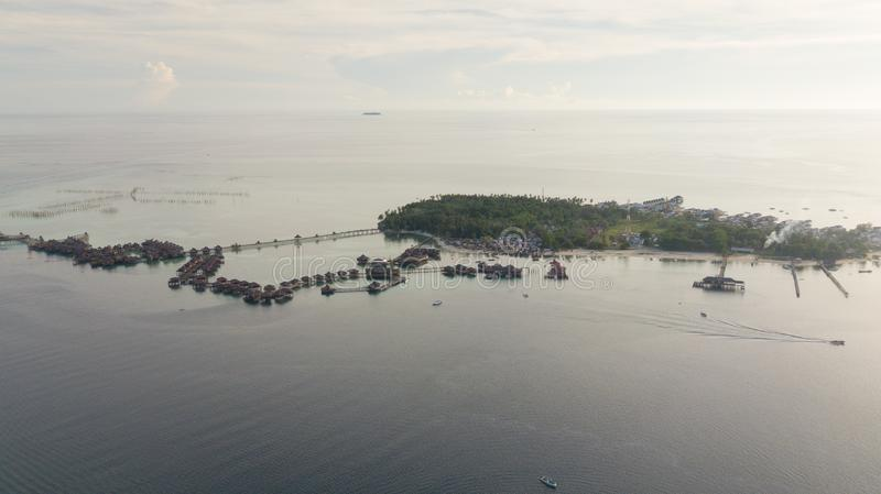 Aerial view of mabul island in Malaysia royalty free stock photos