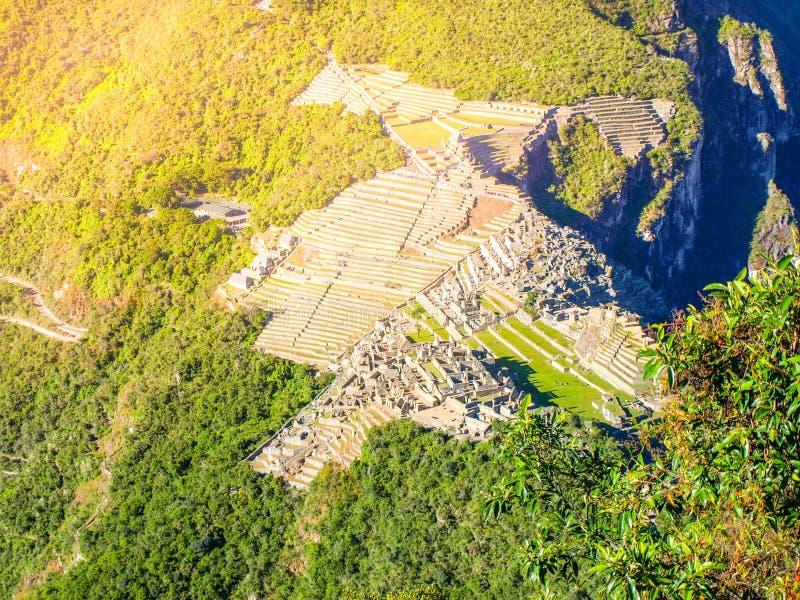 Aerial view of Machu Picchu from Huayna Picchu stock photo