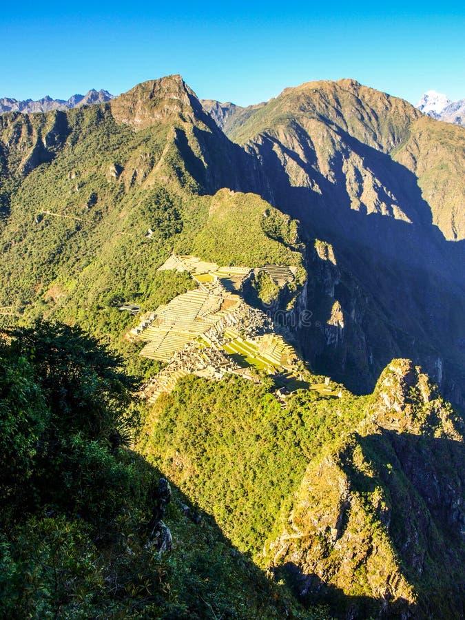Aerial view of Machu Picchu from Huayna Picchu stock photos