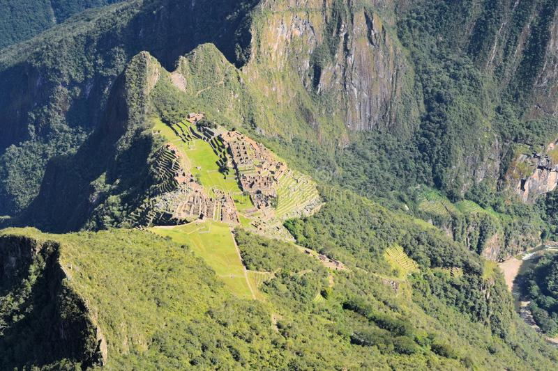 Aerial view of Machu Picchu, lost Inca city in the stock photo