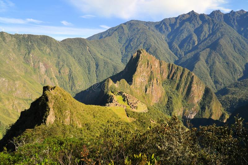 Aerial view of Machu Picchu, lost Inca city in the stock photos