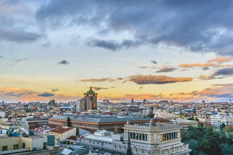Aerial View Madrid Cityscape royalty free stock photos