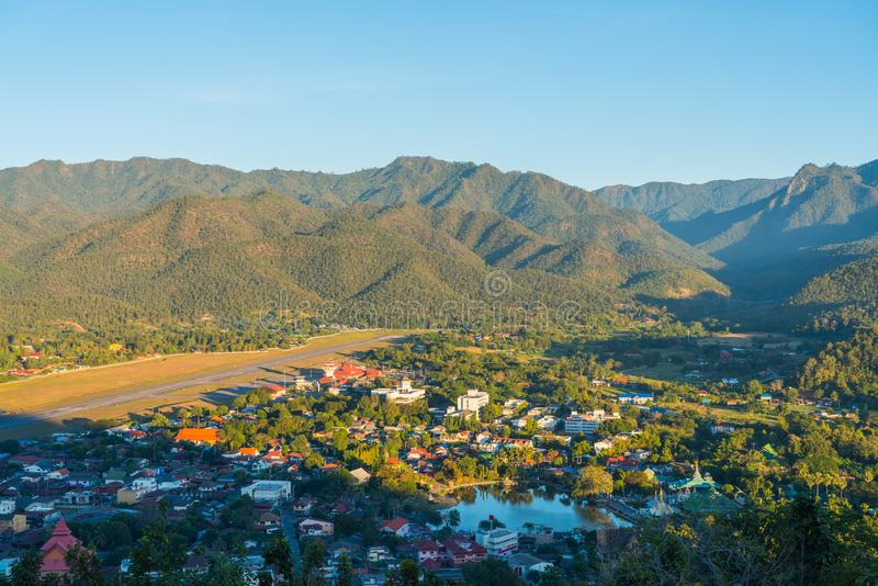 Aerial view of Mae Hong Son. Aerial view of Cityscape in light and shadow in Mae Hong Son of Thailand stock photo
