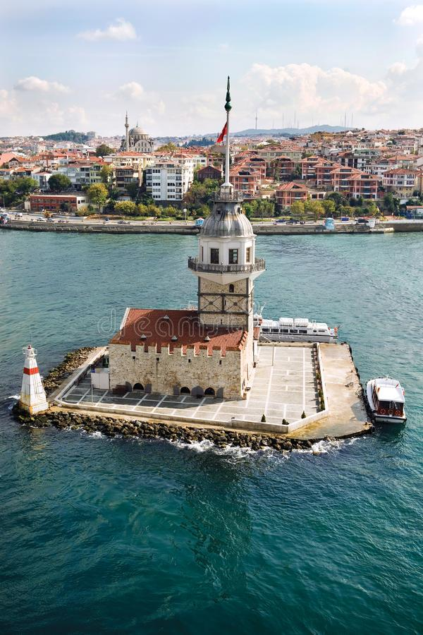 Aerial view of Maiden`s Tower in Istanbul on the Bosphorus. royalty free stock images