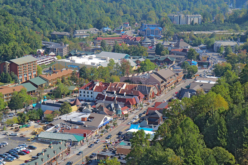 Aerial view of the main road through Gatlinburg, Tennessee royalty free stock photography