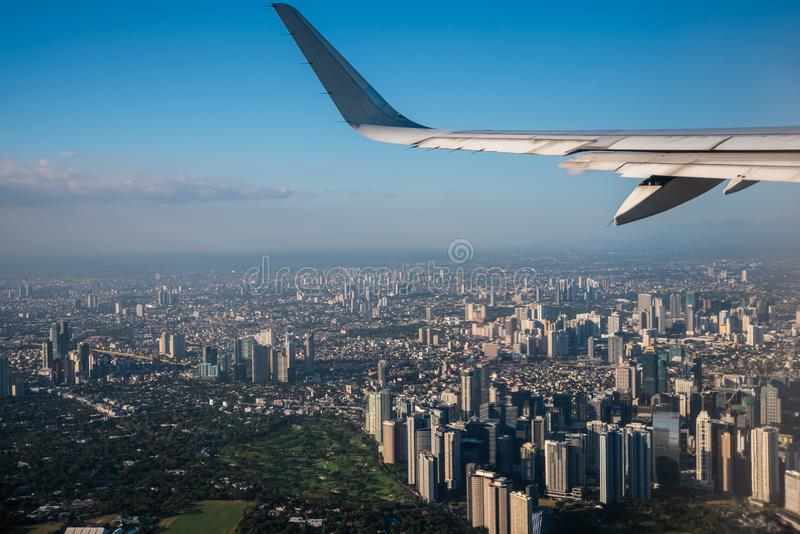 Aerial view of Makati City, Philippines from a window seat.  royalty free stock image