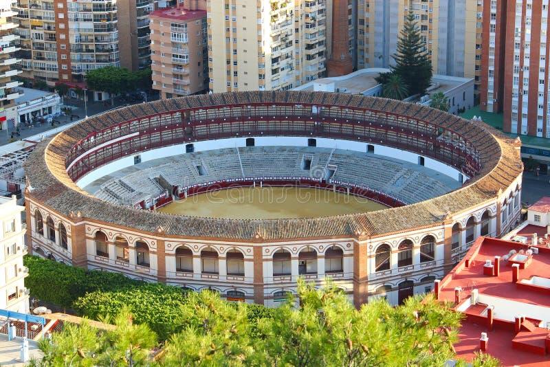 Aerial view of Malagueta bullring, Malaga, Spain. Aerial view of bullring Plaza de Toros La Malagueta in Malaga, Andalusia, Spain stock images