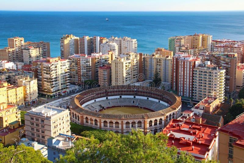 Aerial view of Malagueta bullring, Malaga, Spain. Aerial view of Malagueta district and bullring Plaza de Toros La Malagueta, Malaga, Andalusia, Spain stock photos