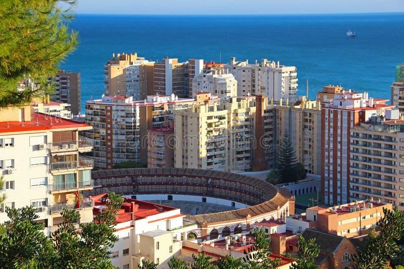 Aerial view of Malagueta bullring, Malaga, Spain. Aerial view of Malagueta district and bullring Plaza de Toros La Malagueta, Malaga, Andalusia, Spain stock image