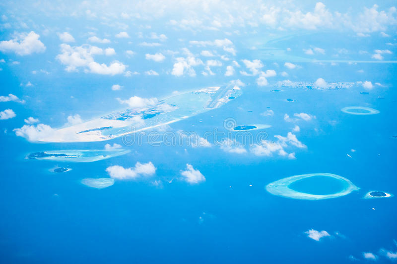 Aerial view of maldives island royalty free stock photos