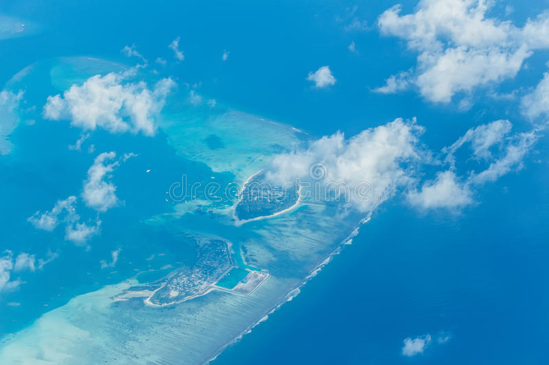 Aerial view on Maldives. Scenic aerial view on tropical island of Maldives stock photos