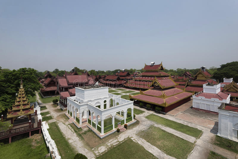 Aerial view of Mandalay Palace, Mandalay, Myanmar. Replica of Mandalay Palace is made for educational purpose for both locals and tourists about the last royal royalty free stock photo