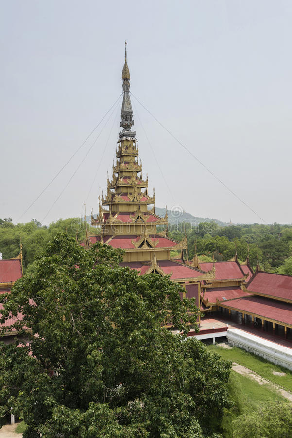 Aerial view of Mandalay Palace, Mandalay, Myanmar. Replica of Mandalay Palace is made for educational purpose for both locals and tourists about the last royal royalty free stock photography