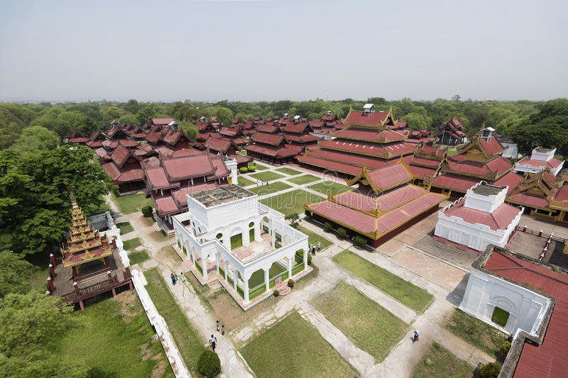 Aerial view of Mandalay Palace, Mandalay, Myanmar. Replica of Mandalay Palace is made for educational purpose for both locals and tourists about the last royal stock photography