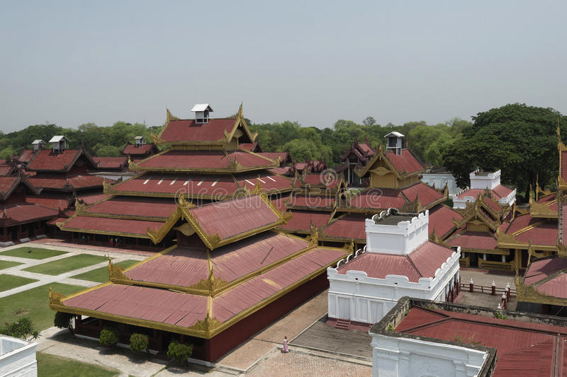 Aerial view of Mandalay Palace, Mandalay, Myanmar. Replica of Mandalay Palace is made for educational purpose for both locals and tourists about the last royal royalty free stock photos
