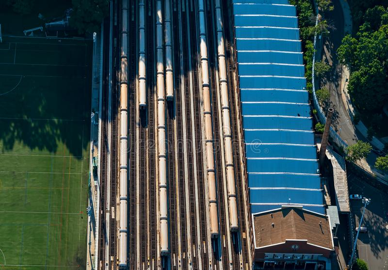 Manhattan College with train station. Aerial view of Manhattan College with train station stock photography