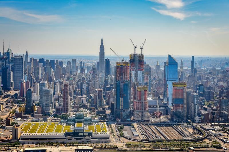 Aerial view of Manhattan financial district skyline, NYC royalty free stock photography
