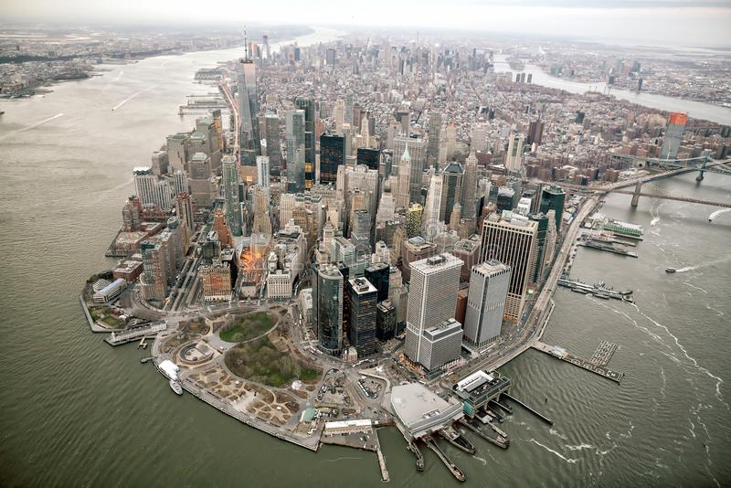 Aerial view of Manhattan skyline, New York City royalty free stock images