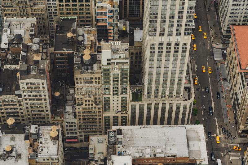 New York City, Aerial View of Manhattan. Buildings, Rooftop, Traffic stock images