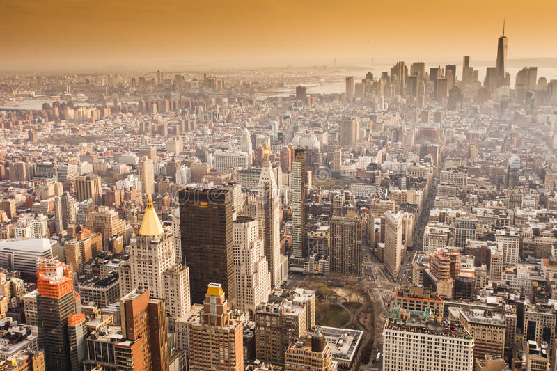 Aerial view of Manhattan skyline at sunset, New York City stock images