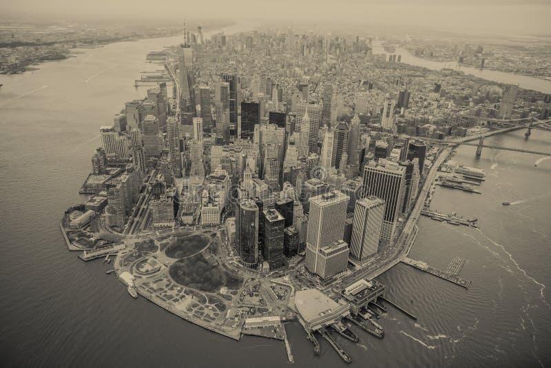 Aerial view of Manhattan skyline at sunset, New York City stock photos