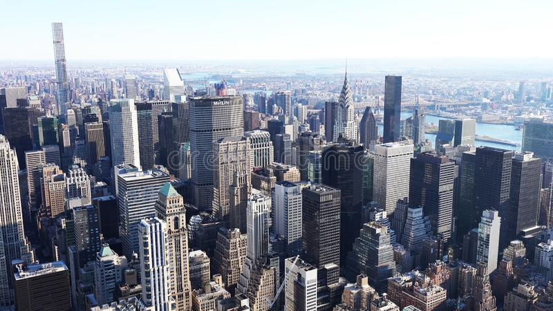 Aerial view of manhattan / Aerial view of the skyscrapers of Midtown Manhattan New York City royalty free stock images