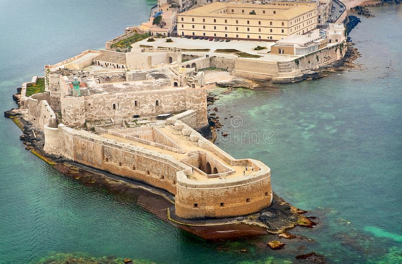 Aerial view of Maniace fortress in Ortigia. royalty free stock photos