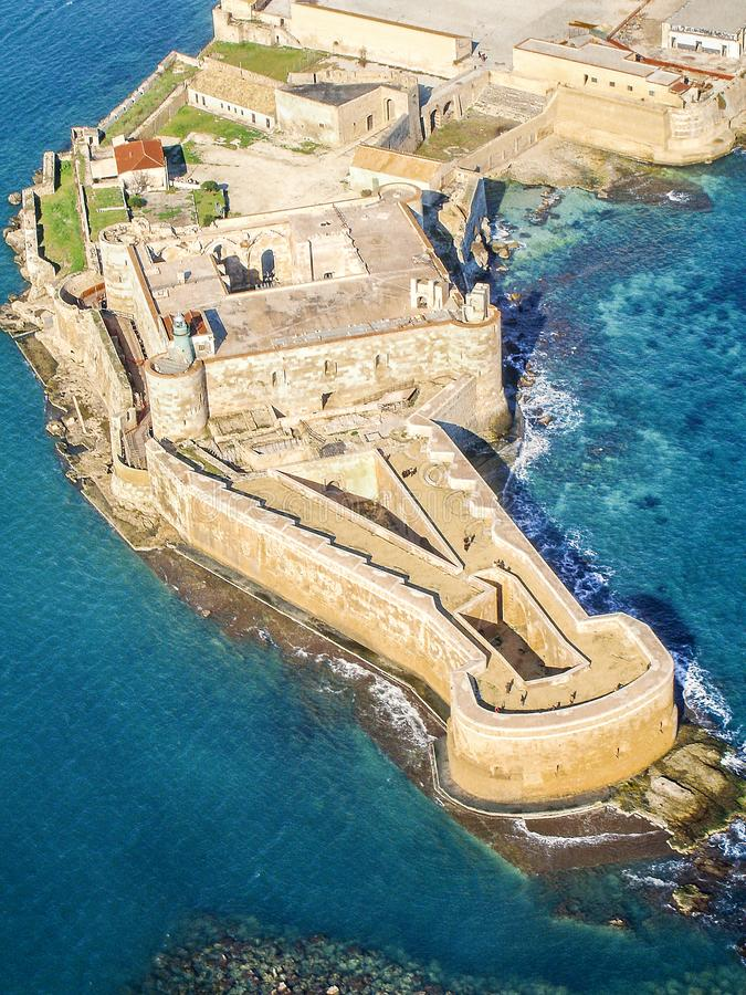 Aerial view of Maniace fortress in Ortigia stock photos