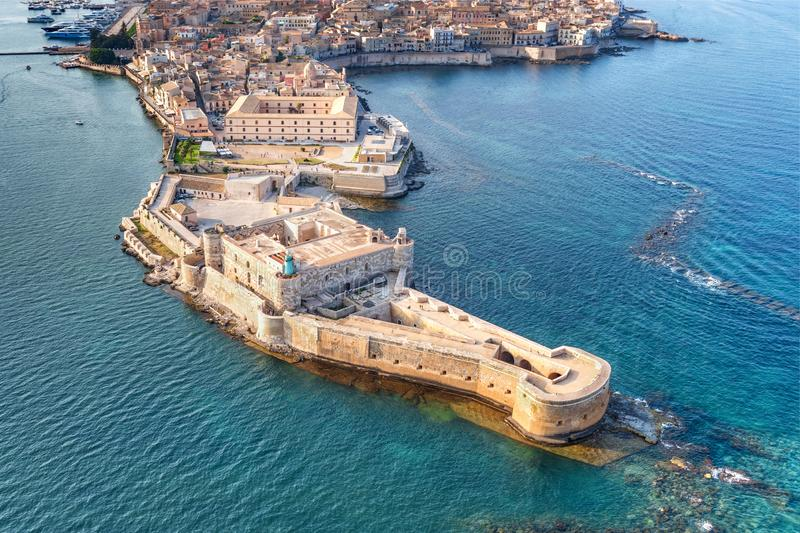 Aerial view of Maniace fortress in Ortigia stock photo