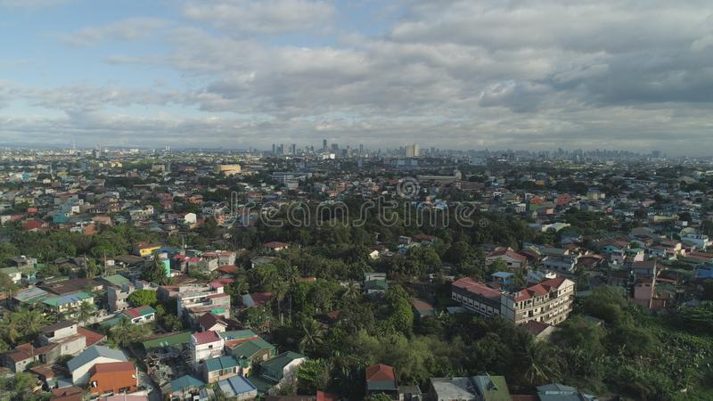 Capital of the Philippines is Manila. Aerial view of Manila city with skyscrapers and buildings. Philippines, Luzon. Aerial skyline of Manila stock photography
