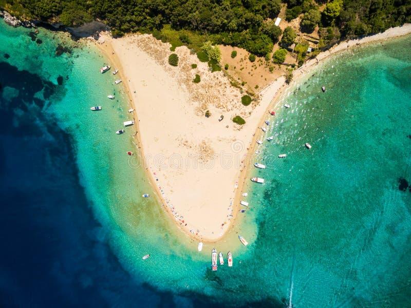 Aerial view of Marathonisi Island in Zakynthos Zante island, i royalty free stock photo