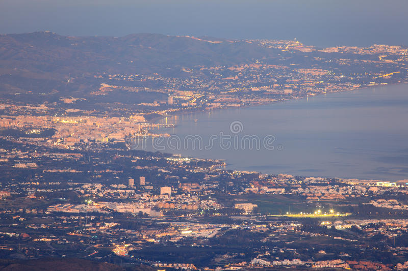 Download Aerial View Of Marbella Coast At Night, Spain Stock Photo - Image: 29081126