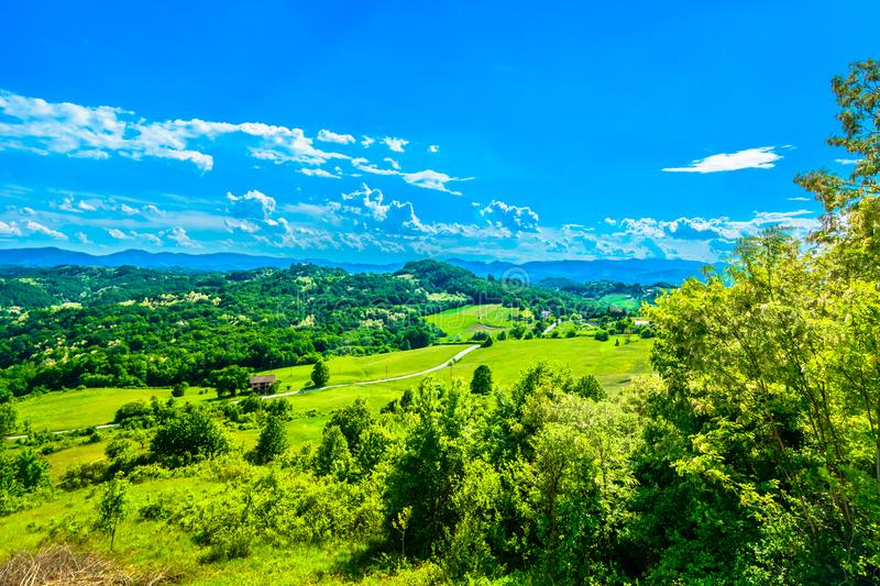 Aerial view at marble landscape, Zagorje region. stock image