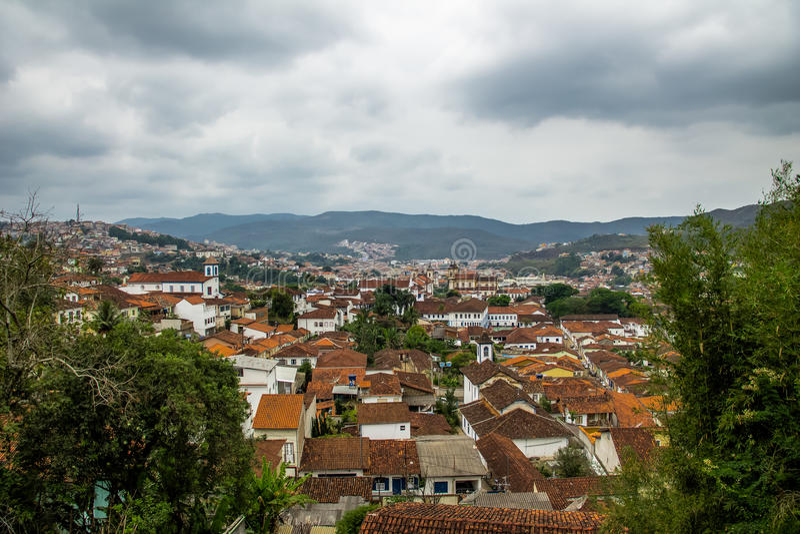 Aerial view of Mariana City - Minas Gerais, Brazil. Aerial view of Mariana City in Minas Gerais, Brazil royalty free stock photo