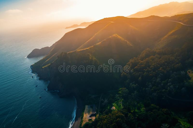 Aerial view of Marin Headlands at sunset. Aerial view of Marin Headlands and Golden Gate bay at sunset royalty free stock photos