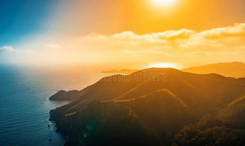 Aerial view of Marin Headlands at sunset. Aerial view of Marin Headlands and Golden Gate bay at sunset stock photo