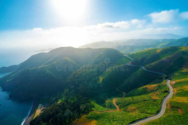 Aerial view of Marin Headlands at sunset. Aerial view of Marin Headlands and Golden Gate bay at sunset royalty free stock image