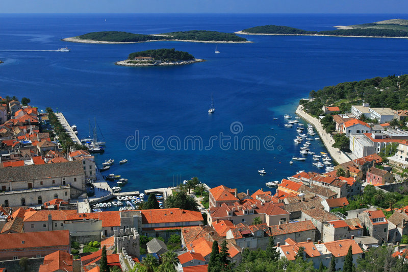 Aerial view of marina royalty free stock photography