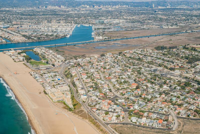 Aerial view of Marina Del Rey and Playa Del Rey. Aera from airplane, Los Angeles, California stock photos