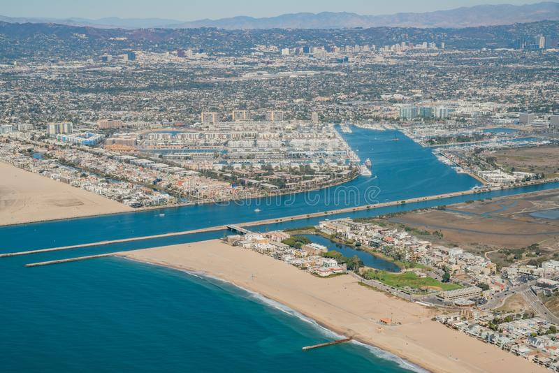 Aerial view of Marina Del Rey and Playa Del Rey. Aera from airplane, Los Angeles, California royalty free stock photography