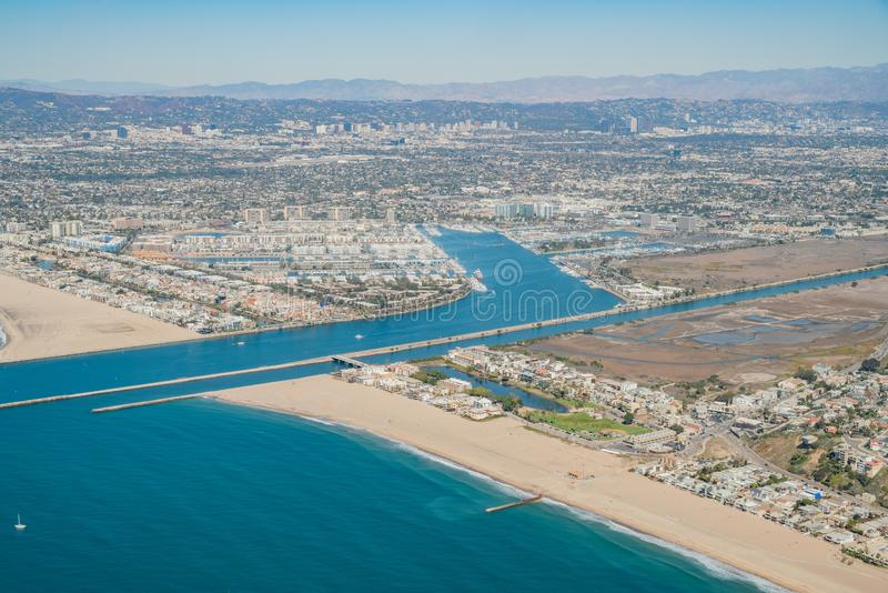 Aerial view of Marina Del Rey and Playa Del Rey. Aera from airplane, Los Angeles, California royalty free stock images