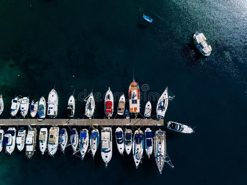 Aerial view of marina lot. Boats in the port in Greece. stock image