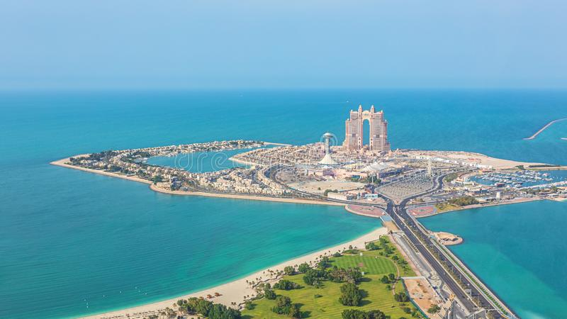 Aerial view of Marina Mall and Marina island in Abu Dhabi, UAE - panoramic view of shopping district. With mall, harbour and beach stock photo
