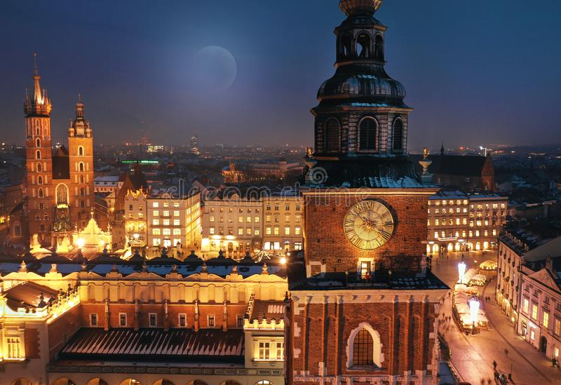 Aerial view of the Market Square in Krakow, Poland at night stock photos