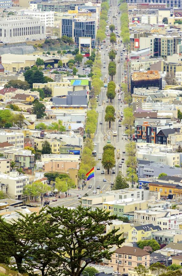 Aerial view of Market Street, Castro, San Francisco. Aerial view of Market street in the Castro, San Francisco, California, United States of America. View of the royalty free stock images